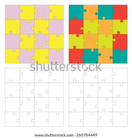 Set of Jigsaw puzzle. Every piece is a single shape. Puzzle for kids. Rebus for preschoolers. Cutting guidelines. Puzzle different shape and colors. Eps 8 - stock vector