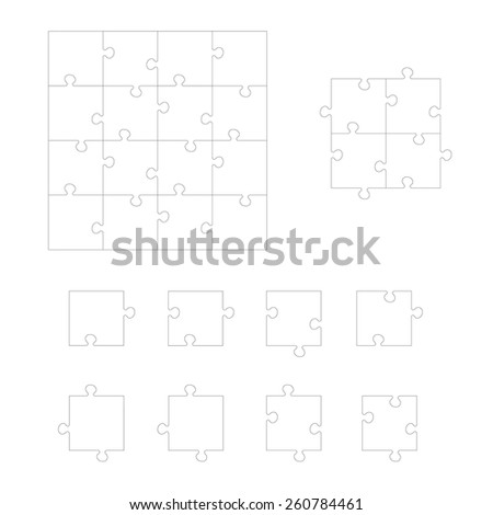 Set of Jigsaw puzzle. Every piece is a single shape. Puzzle for kids. Rebus for preschoolers. Cutting guidelines. Puzzle elements different shape. Eps 8 - stock vector