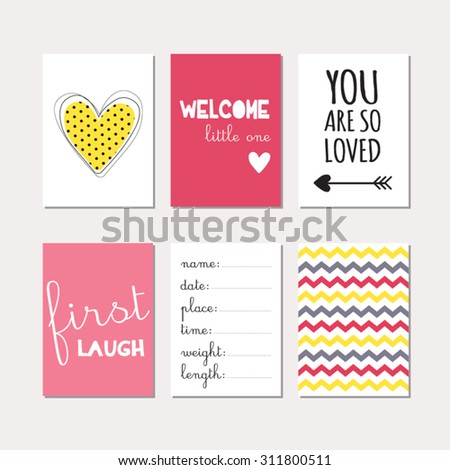 baby scrapbook templates set journaling cards newborn baby girl stock vector 311800502