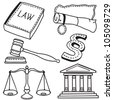 Set of judicial icons isolated on white background - hand-drawn illustration - stock