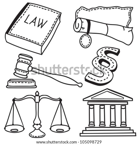 Set of judicial icons isolated on white background - hand-drawn illustration - stock vector