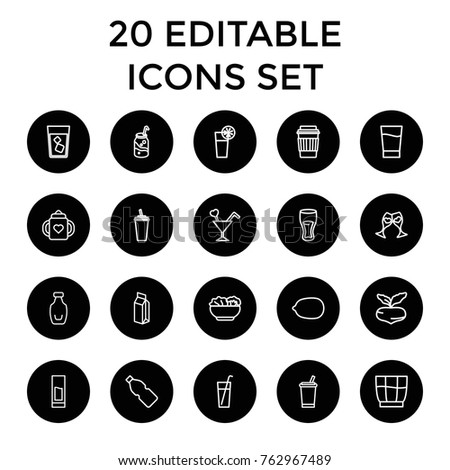Set of 20 juice outline icons such as beet, baby bottle, lemon, drink, soda, milk, clink glasses, cocktail, bottle