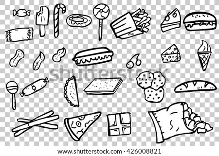 Set of junk food icon doodle Burger, pizza, french fries, potato chip, hot dog, ice cream cone, etc