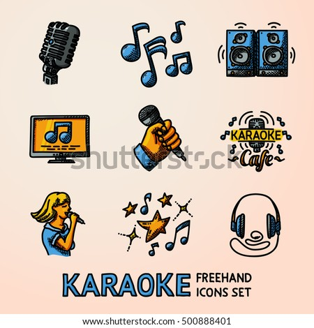 Set of karaoke singing freehand icons - microphone, notes, loudspeakers, tv-screen, hand with mic, karaoke cafe sign, singer, headphones. Vector