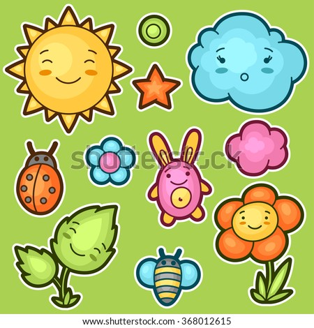 Set of kawaii doodles with different facial expressions. Spring collection of cheerful cartoon characters sun, cloud, flower, leaf, beetles and decorative objects.