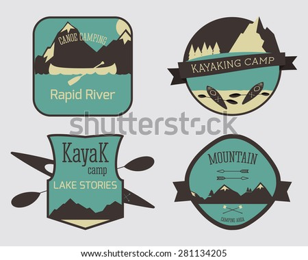Set of Kayaking campsite logo templates. Outdoor Activity Travel Logo Vintage Labels design. Canoeing Badges Retro style logotype concept icons set. Vector illustration - stock vector