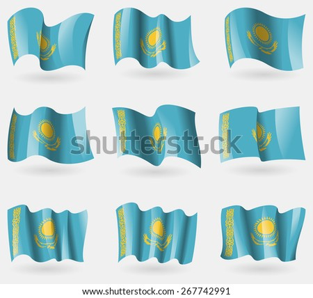 Set of Kazakhstan flags in the air. Vector illustration - stock vector
