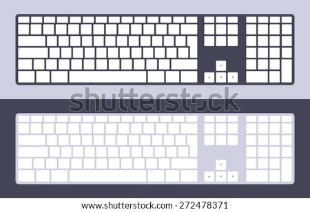 Set of keyboards with blank keys. Illustration suitable for advertising and promotion - stock vector