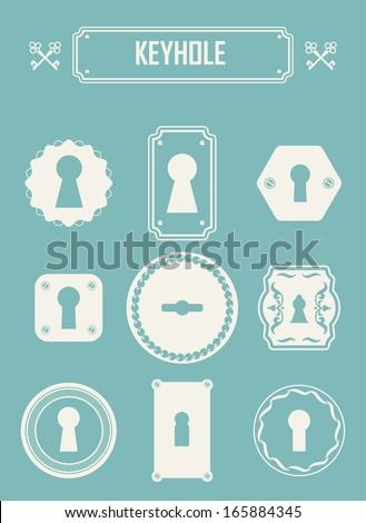 Set of keyholes. Vintage design elements. Keys labels. EPS 10 - stock vector