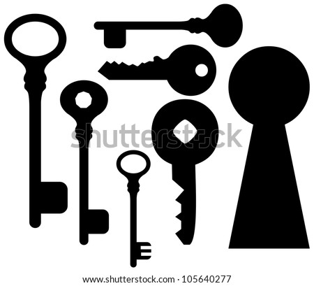 set of keys  and keyhole.  Collection of Key Silhouettes