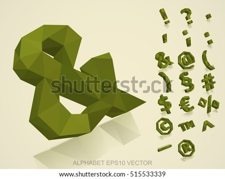 Set of Khaki 3D polygonal Symbols with reflection. Low poly alphabet collection. EPS 10 vector illustration.