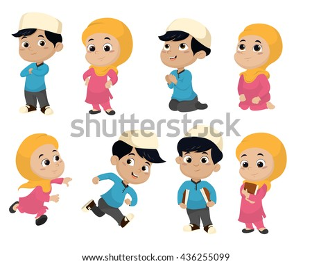 Set of kid muslim people doing activities.vector and illustration. - stock vector