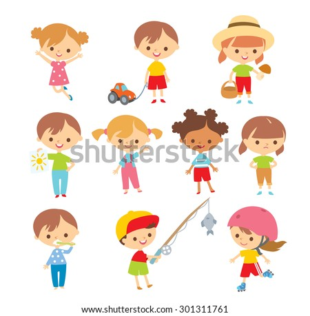 set of kids at the simple style - stock vector