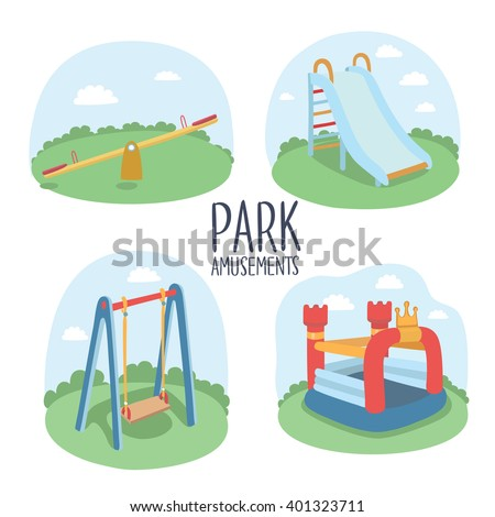 Set of kids playground elements vector illustration - stock vector