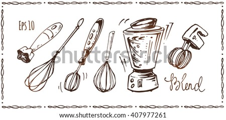 set of kitchen accessories - whisk, mixer, blender. hand-drawn ink. vintage style. isolated vector - stock vector