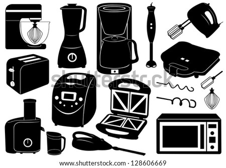 Set of kitchen appliances - stock vector
