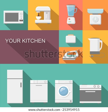 Set of kitchen appliances flat icons  with  a washing machine  stove  fridge iron  microwave scale  kettle  coffee machine and toaster - stock vector