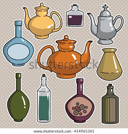Set of kitchen dishes - stock vector