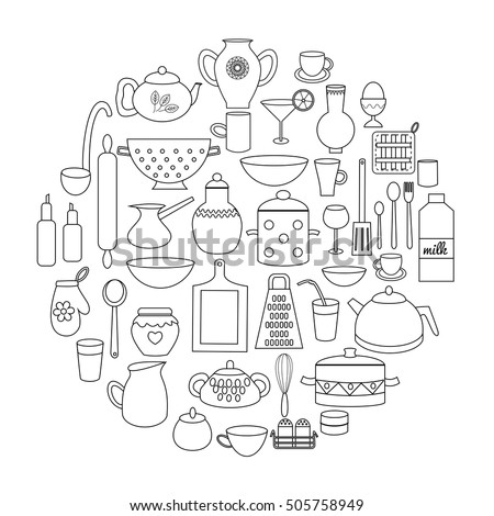 Set Of Kitchen Doodle Utensils Cooking Equipment Circle Coloring Page Vector Illustration