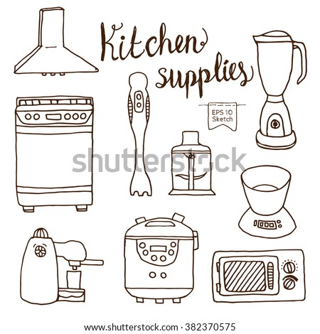 Set of kitchen electronics in hand drawn style. Doodle illustration.