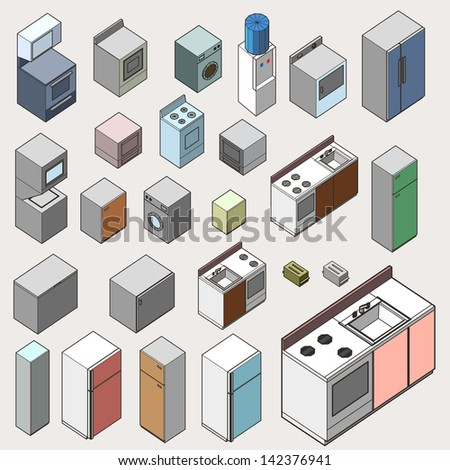 set of kitchen furniture complete isometric. detailed vector isometric series - stock vector