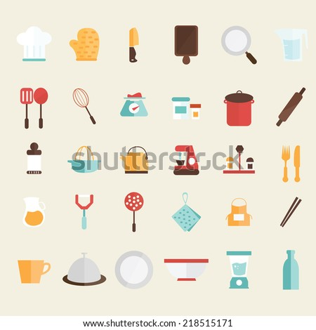 Set of kitchen icons - stock vector