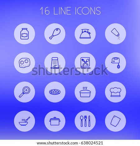 Set Of 16 Kitchen Outline Icons Set.Collection Of Cutlery, Skillet, Hat And Other Elements.