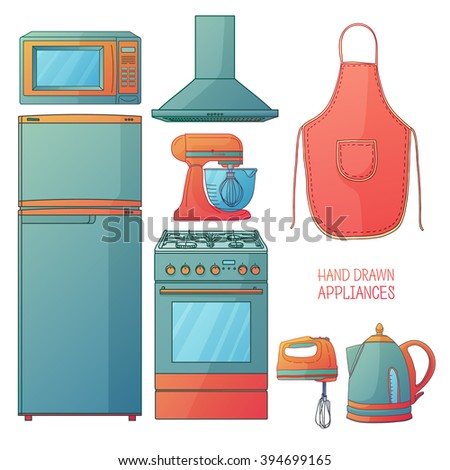 Set of kitchen tools. Kitchen household furniture in a cartoon style. Silhouette of kitchen tools and accessories. Appliances for kitchen interior. Vector - stock vector