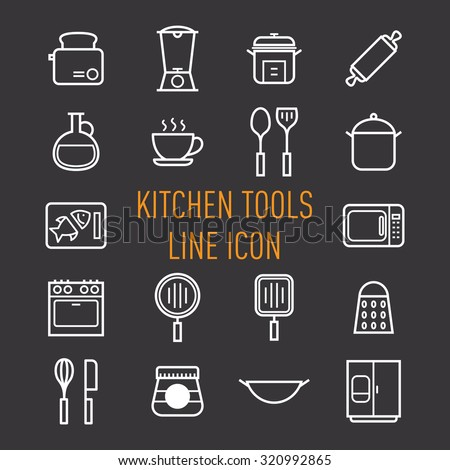 set of kitchen tools line icon isolated on black background - stock vector