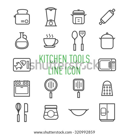 set of kitchen tools line icon isolated on white background - stock vector