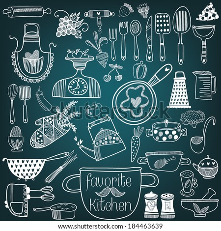Set of  kitchen tools on chalkboard background. Vector illustration of kitchen doodles collection-Pan, skillet, apron, scales, mixer and other - stock vector