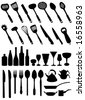 set of kitchen tools vector - stock vector