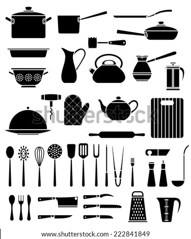 Set of kitchen utensil and collection of cookware icons, cooking tools and kitchenware equipment - stock vector