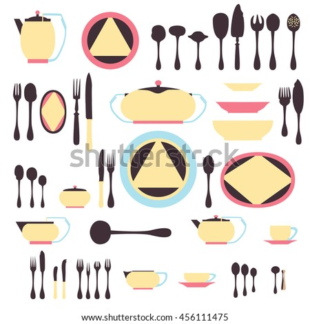 Set of kitchen utensil and collection of tableware illustration.