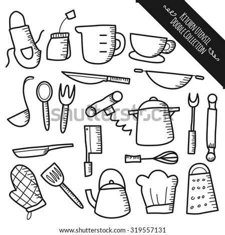 set of kitchen utensil doodle isolated on white background - stock vector