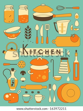Set of Kitchen utensil in Retro-Styled - stock vector