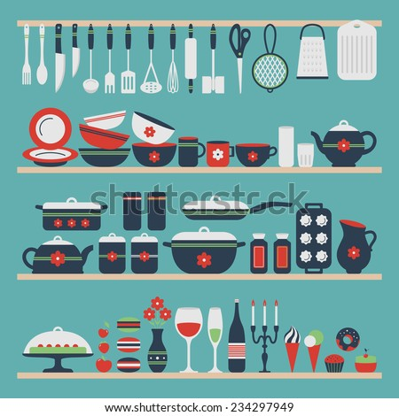 Set of kitchen utensils and food, objects on shelves. Cookware, home cooking background. Kitchenware. Modern design. Vector illustration. - stock vector