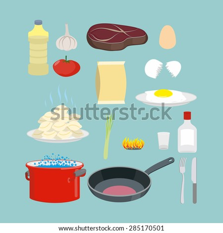Set of kitchen utensils and food. Pan and casserole, meat and eggs. Vector objects for infographics in cooking instructions.