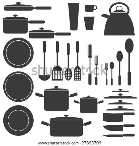 Set of kitchen utensils in white and black colours. - stock vector