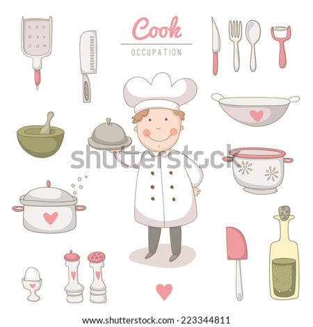 Set of kitchen utensils set with a very cute cook. EPS 10. No transparency. No gradients. - stock vector