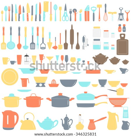 Utensils stock images royalty free images vectors for Kitchen set name in english