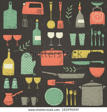 Set of kitchen ware. Retro plates and dishes. Cute kitchen collection.  - stock vector