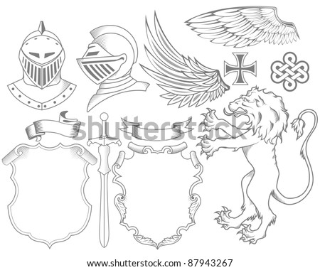 Set of knight heraldic elements - stock vector