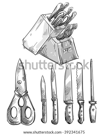 Set of knives. Kitchen utensils. Vector sketch - stock vector