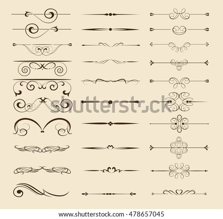 Set of l decorative calligraphic elements for design