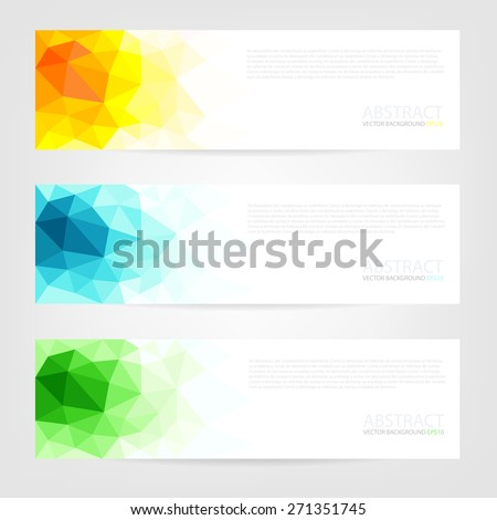 Set of label banner polygon background colorful pattern triangle geometric with space for text and message modern artwork design , vector - stock vector