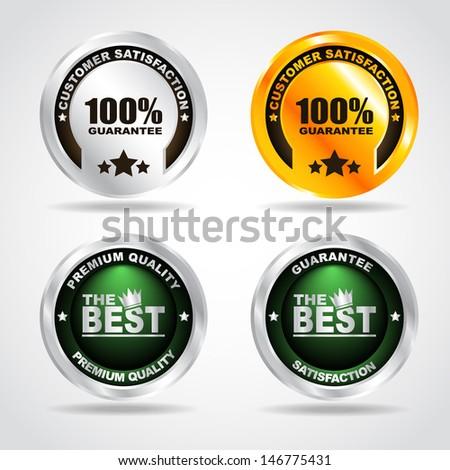 Set of label. Premium quality. 100% guarantee. Vector illustration - stock vector