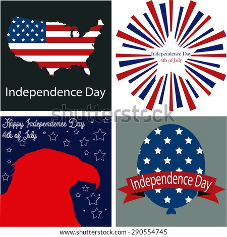 Set of labels and backgrounds with different elements for independence day. Vector illustration