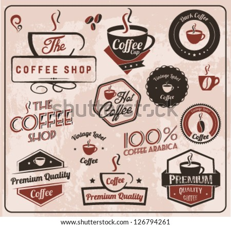 Set of Labels and Elements for design in retro style - stock vector