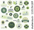 Set of labels and elements for green technology - stock photo